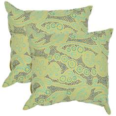 "Textural Green and Blue 18"" Square Throw Pillow"