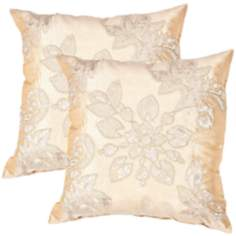 "Textural Gold Floral 20"" Square Throw Pillow"