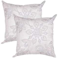 "Textural Silver Floral 20"" Square Throw Pillow"