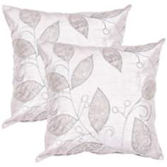 "Textural Silver Leaf 20"" Square Throw Pillow"