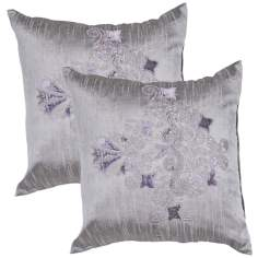 "Textural Pewter 20"" Square Throw Pillow"