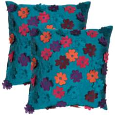 "Textural Dark Turquoise 18"" Square Throw Pillow"
