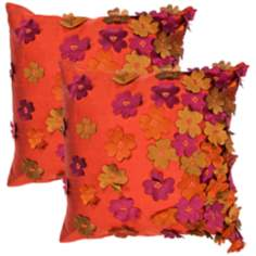 "Textural Ruby 18"" Square Throw Pillow"