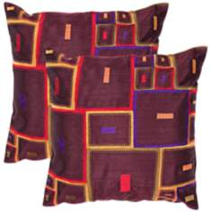 "Textural Oxblood 18"" Square Throw Pillow"