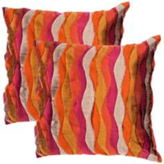 "Textural Fuchsia Multi 18"" Square Throw Pillow"