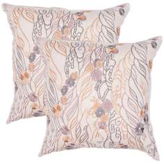 "Textural Flax and Mauve 18"" Square Throw Pillow"
