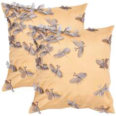 "Textural Marigold 18"" Square Throw Pillow"