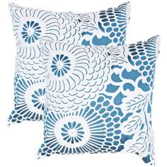 "Textural Blue and White Floral 18"" Square Throw Pillow"