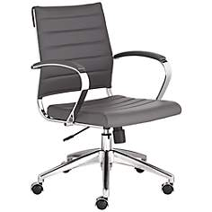 Medina Low Back Gray Faux Leather Office Chair