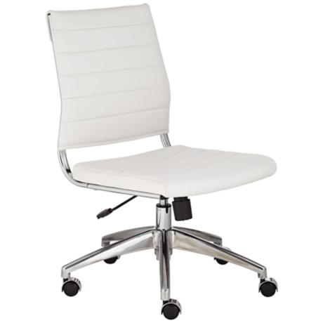medina low back armless white office chair 2p756