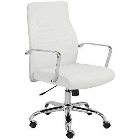 Fabianna White Faux Leather Office Chair
