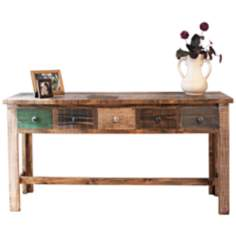 Multi-Color Pine Wood Console Table