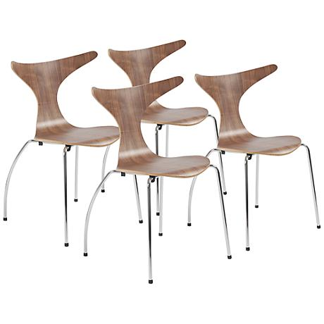 Set of 4 Frida Laminated Walnut Side Chairs