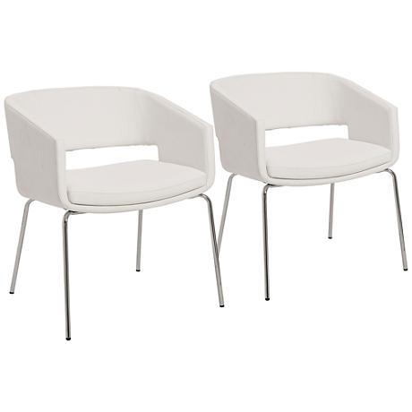 Amelia Chrome and White Leatherette Lounge Chair Set of 2
