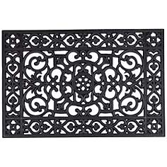 Chatham Wrought Iron Style Black Rubber Doormat
