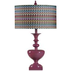 Chevron Zig Zag Plum Purple Table Lamp