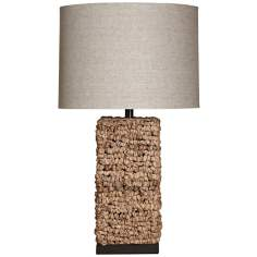 Natural Water Hyacinth Square Table Lamp