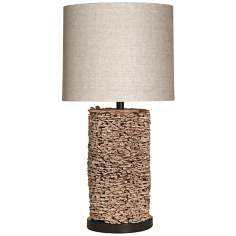 Natural Water Hyacinth Oval Table Lamp