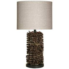 Round Natural Twig Brown Table Lamp