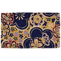 Blue Flower Power Coir Doormat