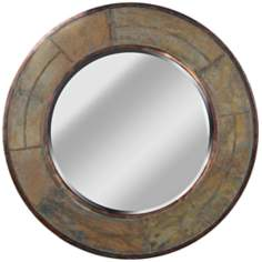 "Kenroy Home Keene Natural Slate 32"" Round Wall Mirror"