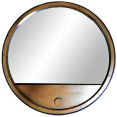 "Kenroy Home Vino 28"" Round Wooden Wall Mirror"