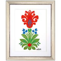 "Ikat Floral I 34"" High Framed Wall Art"