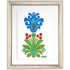 "Ikat Floral II 34"" High Framed Wall Art"