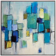 "Bayside I 24"" Square Contemporary Wall Art"