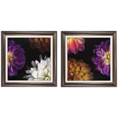 "Set of 2 Purple Dahlia I/II 30"" Square Framed Wall Art"