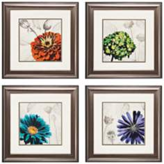 "Set of 4 Touch Color 1/2/3/4 22"" Square Floral Wall Art"