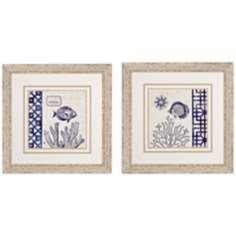 "Set of 2 Sea Shore I/II 24"" Square Coastal Wall Art"