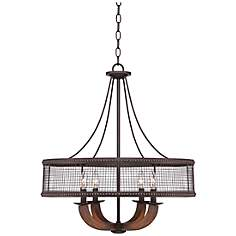 "Frankton Industrial 22"" Wide Bronze Chandelier"