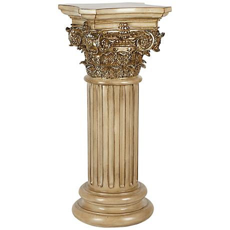 Corinthian Style Brownwash Patina Floor Column