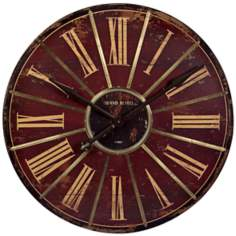 "Large Weathered 29 1/4"" Round Red Wall Clock"