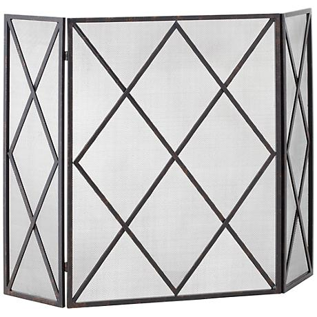Black Diamond 3 Panel Fireplace Screen