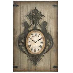 "Felinz 47 1/4"" High Metal And Wood Wall Clock"
