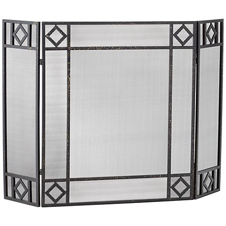 "Fallon Dark Silver 30"" High Three Panel Fireplace Screen"