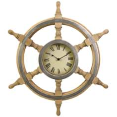 "Wood Ship Wheel 26"" Round Wall Clock"