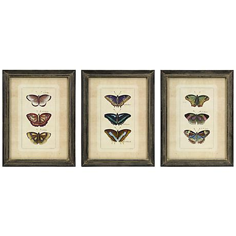 "Set of 3 Butterfly Collection 16 1/4"" High Wall Art"