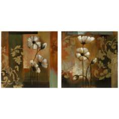 Set of 2 Damask and Floral Oil on Canvas Wall Art
