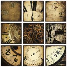 Nouvelle Set of 9 Clock Wall Art