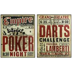 Set of 2 Poker and Darts Wall Art