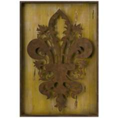 "Fleur-de-Lis 32 1/2"" High Antique Metal Wall Art"