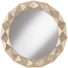 "Kendale Champagne Diamond 33 1/2"" Round Wall Mirror"