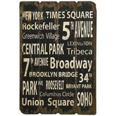 "New York 38 1/2"" High Distressed Black and White Wall Art"