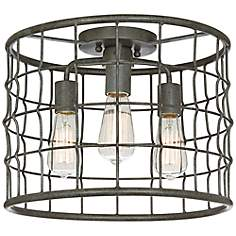 "Dunmore Industrial Cage 15"" Wide Galvanized Ceiling Light"