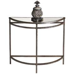 Metalworks Smoke Gray Demilune Console Table