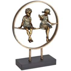 Boy and Girl in Circle Bronze Statue