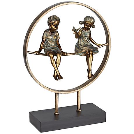 "Boy and Girl in Circle Bronze 14"" High Statue"